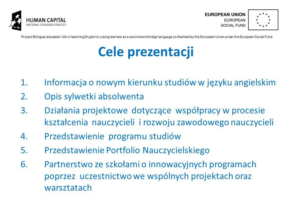 Cele prezentacji 1.Informacja o nowym kierunku studiów w języku angielskim 2.Opis sylwetki absolwenta 3.Działania projektowe dotyczące współpracy w pr