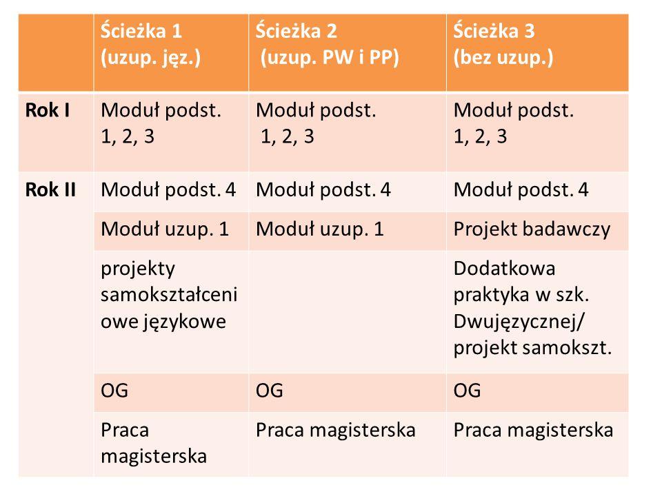 Ścieżka 1 (uzup. jęz.) Ścieżka 2 (uzup. PW i PP) Ścieżka 3 (bez uzup.) Rok IModuł podst. 1, 2, 3 Moduł podst. 1, 2, 3 Moduł podst. 1, 2, 3 Rok IIModuł