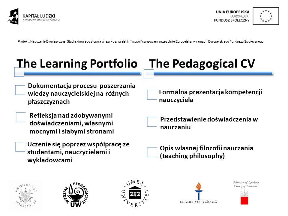 The Learning Portfolio Dokumentacja procesu poszerzania wiedzy nauczycielskiej na różnych płaszczyznach Refleksja nad zdobywanymi doświadczeniami, wła