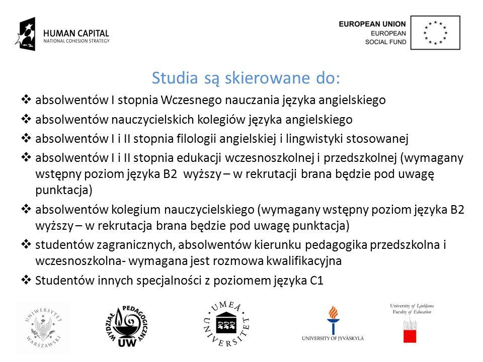 Najważniejsze działania projektowe  Nowy program studiów w języku angielskim Graduate Programme in Teaching English to Young Learners przy wsparciu Partnerów ze Szwecji, Finlandii oraz Słowenii;  Platformę Edukacyjną zawierającą materiały szkoleniowe do kształcenia nauczycieli dzieci, w tym nauczania dwujęzycznego oraz CLIL;  Portfolio Nauczycielskie zintegrowane z programem studiów oraz skierowane na potrzeby nauczyciela języka dzieci