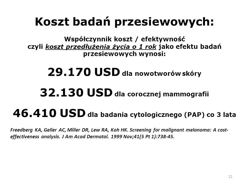 12 Koszt badań przesiewowych: Współczynnik koszt / efektywność czyli koszt przedłużenia życia o 1 rok jako efektu badań przesiewowych wynosi: 29.170 USD dla nowotworów skóry 32.130 USD dla corocznej mammografii 46.410 USD dla badania cytologicznego (PAP) co 3 lata Freedberg KA, Geller AC, Miller DR, Lew RA, Koh HK.