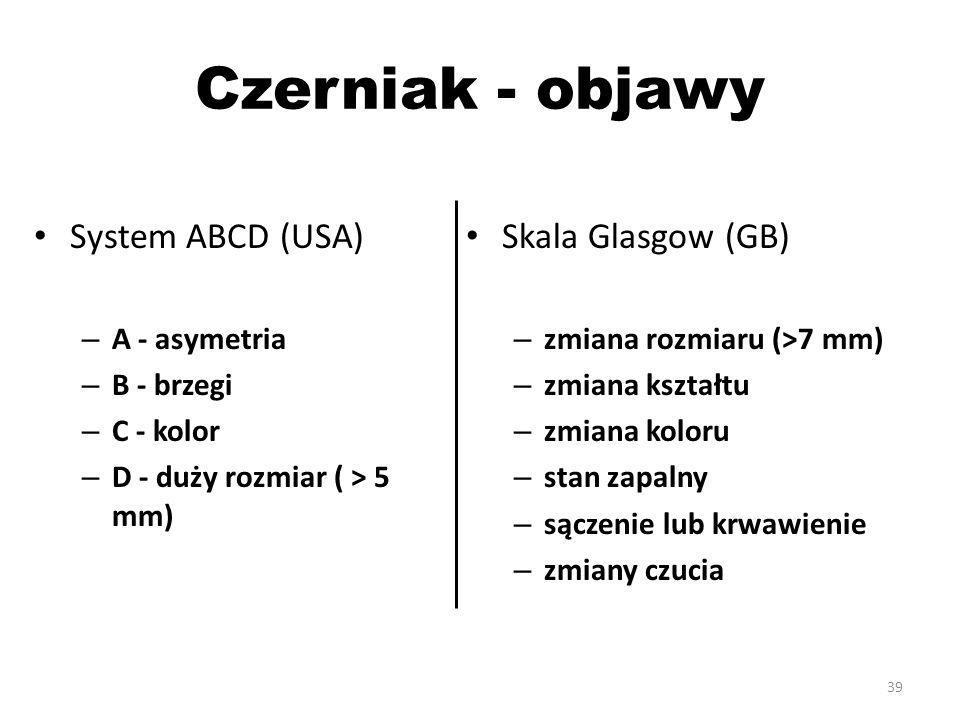 Czerniak - objawy System ABCD (USA) – A - asymetria – B - brzegi – C - kolor – D - duży rozmiar ( > 5 mm) Skala Glasgow (GB) – zmiana rozmiaru (>7 mm) – zmiana kształtu – zmiana koloru – stan zapalny – sączenie lub krwawienie – zmiany czucia 39