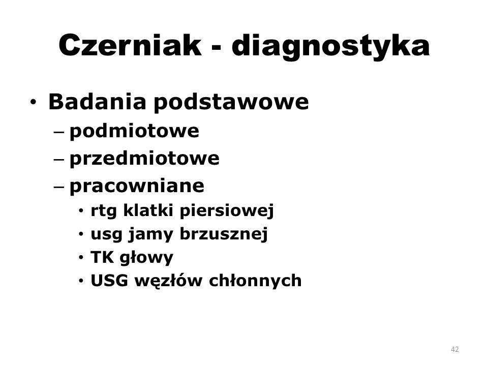Czerniak - diagnostyka Badania podstawowe – podmiotowe – przedmiotowe – pracowniane rtg klatki piersiowej usg jamy brzusznej TK głowy USG węzłów chłonnych 42