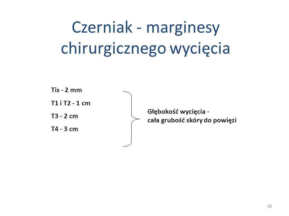 Czerniak - marginesy chirurgicznego wycięcia Tis - 2 mm T1 i T2 - 1 cm T3 - 2 cm T4 - 3 cm Głębokość wycięcia - cała grubość skóry do powięzi 48