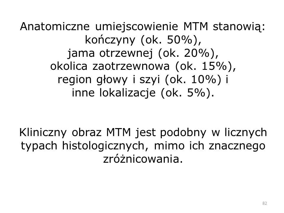 82 Anatomiczne umiejscowienie MTM stanowią: kończyny (ok.