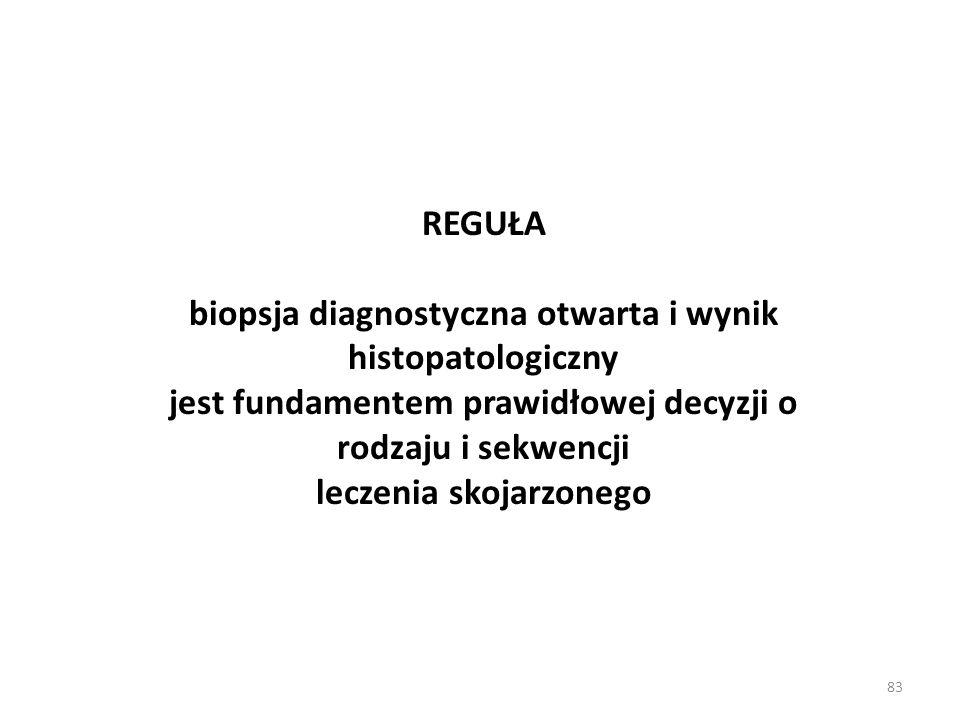 83 REGUŁA biopsja diagnostyczna otwarta i wynik histopatologiczny jest fundamentem prawidłowej decyzji o rodzaju i sekwencji leczenia skojarzonego