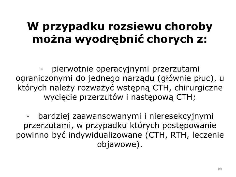 89 W przypadku rozsiewu choroby można wyodrębnić chorych z: - pierwotnie operacyjnymi przerzutami ograniczonymi do jednego narządu (głównie płuc), u których należy rozważyć wstępną CTH, chirurgiczne wycięcie przerzutów i następową CTH; - bardziej zaawansowanymi i nieresekcyjnymi przerzutami, w przypadku których postępowanie powinno być indywidualizowane (CTH, RTH, leczenie objawowe).