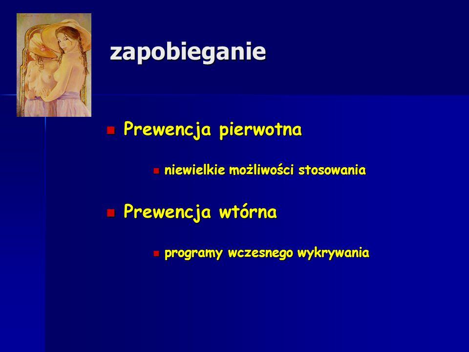 zapobieganie Prewencja pierwotna Prewencja pierwotna niewielkie możliwości stosowania niewielkie możliwości stosowania Prewencja wtórna Prewencja wtór
