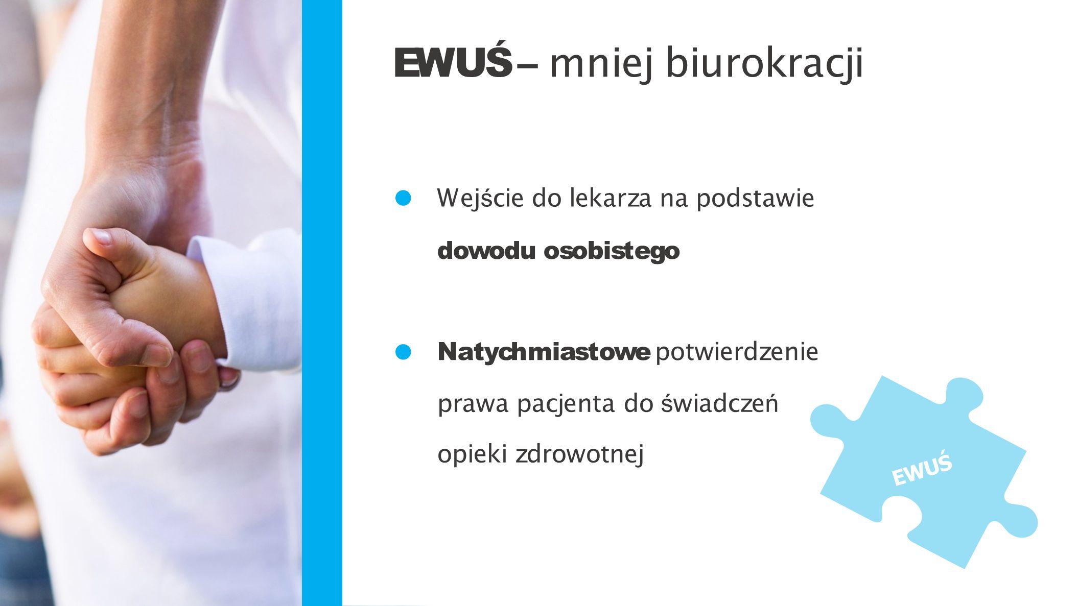 Wej ś cie do lekarza na podstawie dowodu osobistegodowodu osobistego Natychmiastowe potwierdzenie prawa pacjenta do ś wiadcze ń opieki zdrowotnej EWUŚ