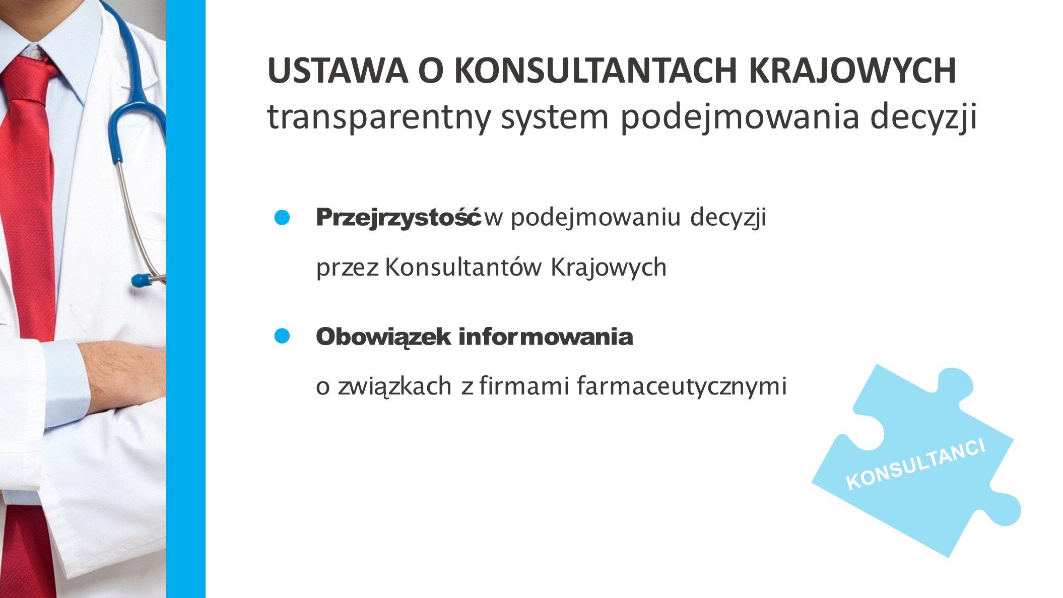 USTAWA O KONSULTANTACH KRAJOWYCH transparentny system podejmowania decyzji KONSULTANCI Przejrzystość w podejmowaniu decyzji przez Konsultantów Krajowy