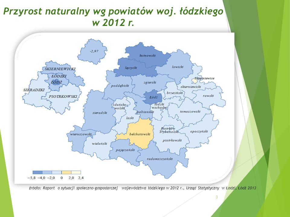 Przyrost naturalny wg powiatów woj.łódzkiego w 2012 r.