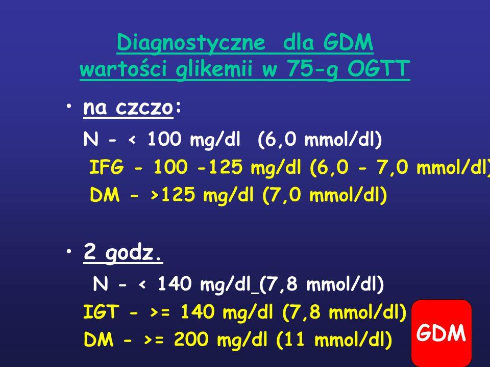 Diagnostyczne dla GDM wartości glikemii w 75-g OGTT na czczo: N - < 100 mg/dl (6,0 mmol/dl) IFG - 100 -125 mg/dl (6,0 - 7,0 mmol/dl) DM - >125 mg/dl (7,0 mmol/dl) 2 godz.