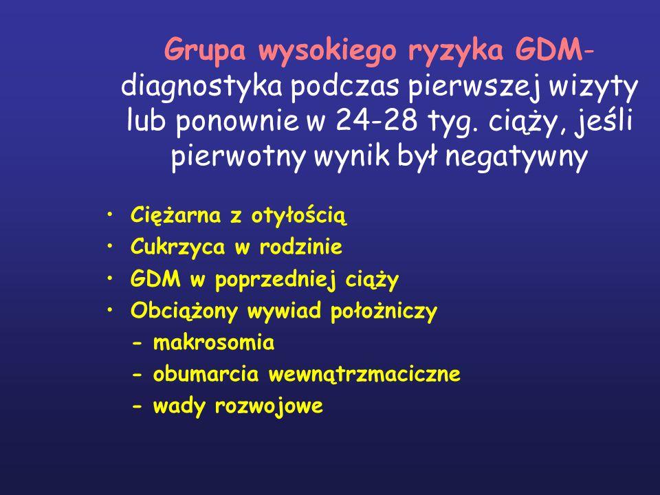 Grupa wysokiego ryzyka GDM- diagnostyka podczas pierwszej wizyty lub ponownie w 24-28 tyg.