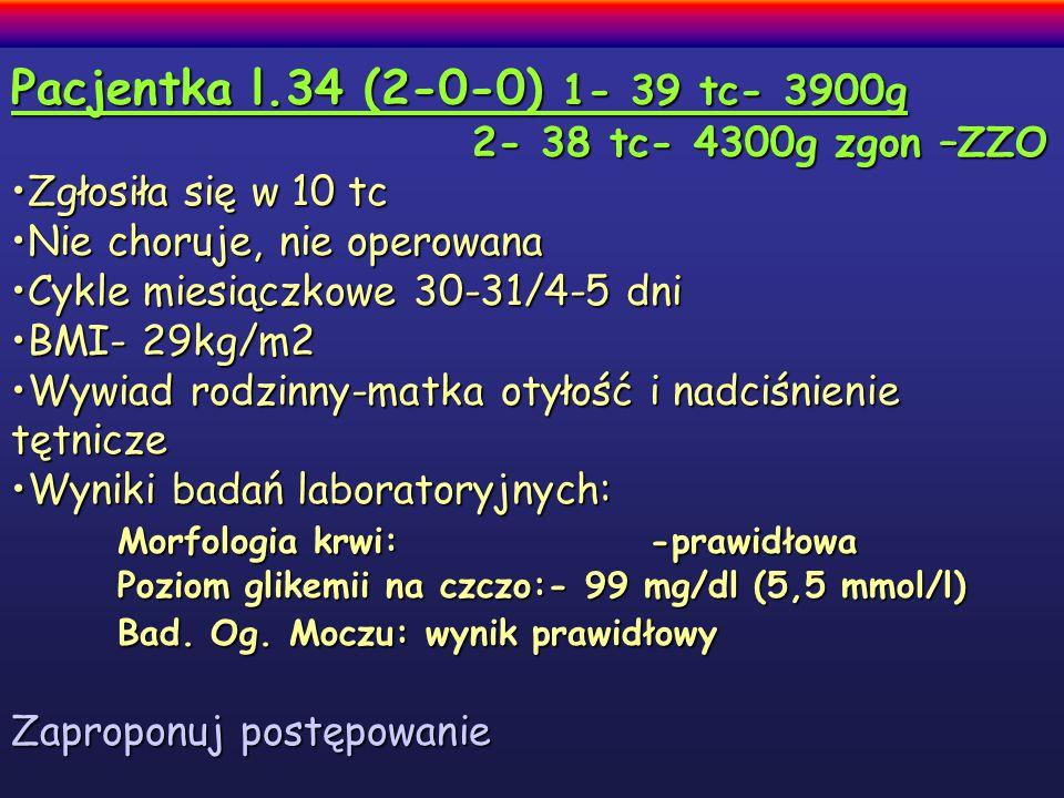 Pacjentka l.34 (2-0-0) 1- 39 tc- 3900g 2- 38 tc- 4300g zgon –ZZO 2- 38 tc- 4300g zgon –ZZO Zgłosiła się w 10 tcZgłosiła się w 10 tc Nie choruje, nie operowanaNie choruje, nie operowana Cykle miesiączkowe 30-31/4-5 dniCykle miesiączkowe 30-31/4-5 dni BMI- 29kg/m2BMI- 29kg/m2 Wywiad rodzinny-matka otyłość i nadciśnienie tętniczeWywiad rodzinny-matka otyłość i nadciśnienie tętnicze Wyniki badań laboratoryjnych:Wyniki badań laboratoryjnych: Morfologia krwi: -prawidłowa Poziom glikemii na czczo:- 99 mg/dl (5,5 mmol/l) Bad.