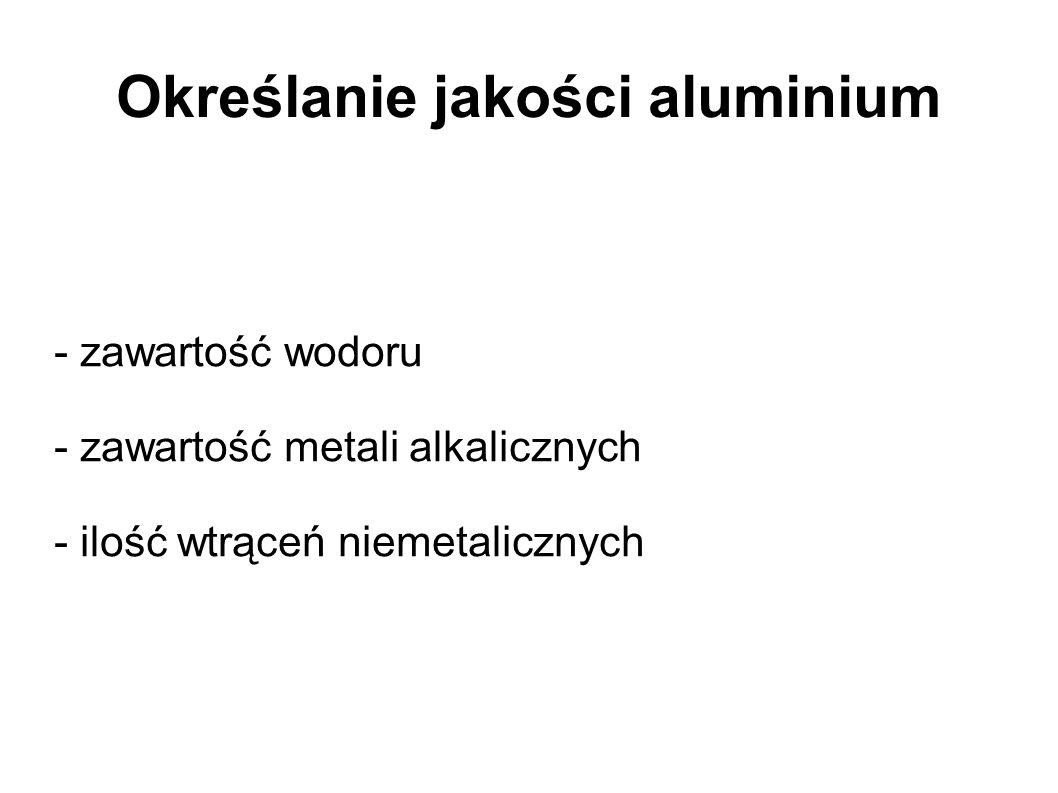 Określanie jakości aluminium - zawartość wodoru - zawartość metali alkalicznych - ilość wtrąceń niemetalicznych