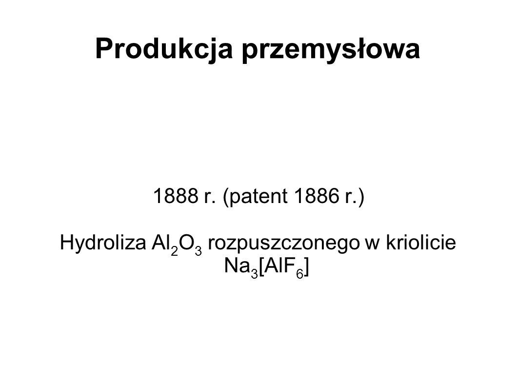 Produkcja przemysłowa 1888 r. (patent 1886 r.) Hydroliza Al 2 O 3 rozpuszczonego w kriolicie Na 3 [AlF 6 ]