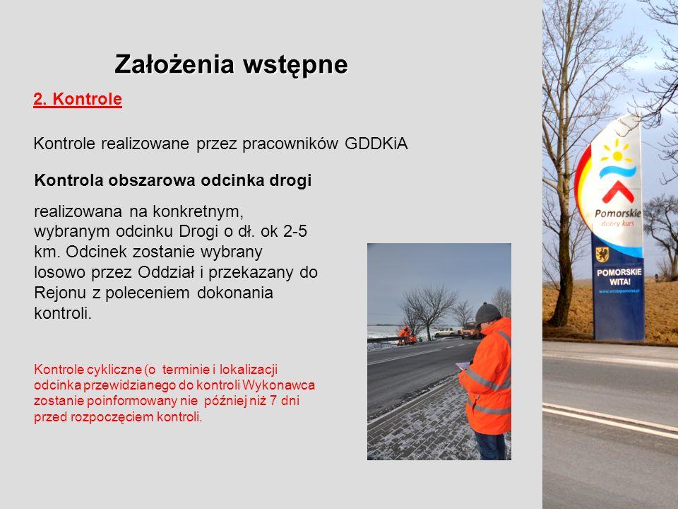 Założenia wstępne 2. Kontrole Kontrole realizowane przez pracowników GDDKiA Kontrola obszarowa odcinka drogi realizowana na konkretnym, wybranym odcin