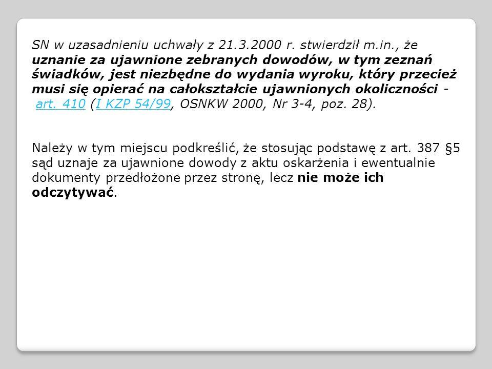SN w uzasadnieniu uchwały z 21.3.2000 r. stwierdził m.in., że uznanie za ujawnione zebranych dowodów, w tym zeznań świadków, jest niezbędne do wydania