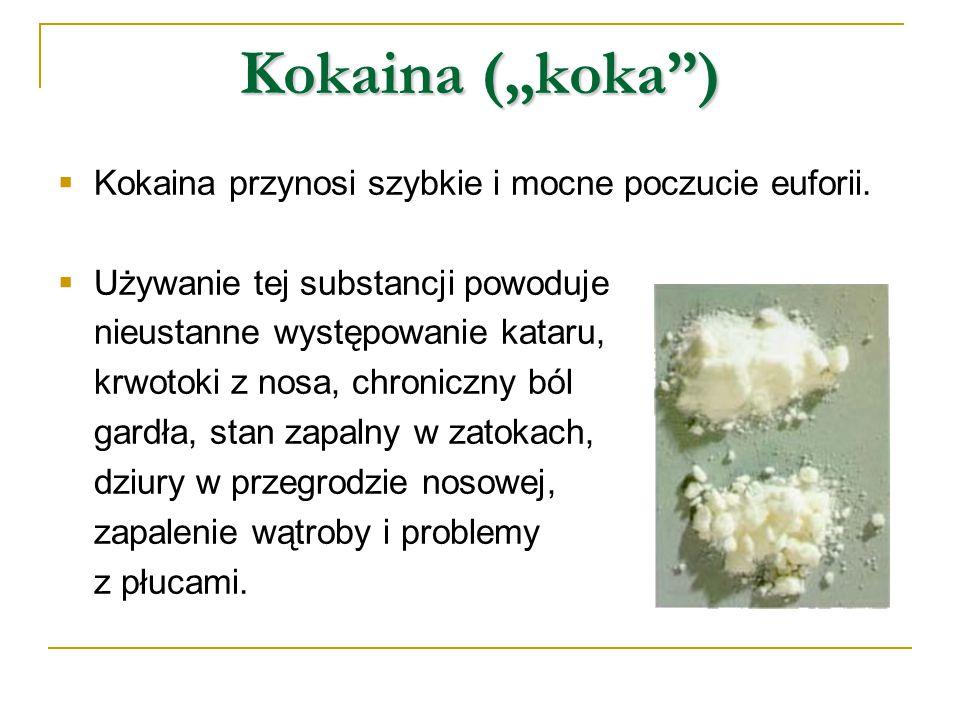 """Kokaina (""""koka"""")  Kokaina przynosi szybkie i mocne poczucie euforii.  Używanie tej substancji powoduje nieustanne występowanie kataru, krwotoki z no"""