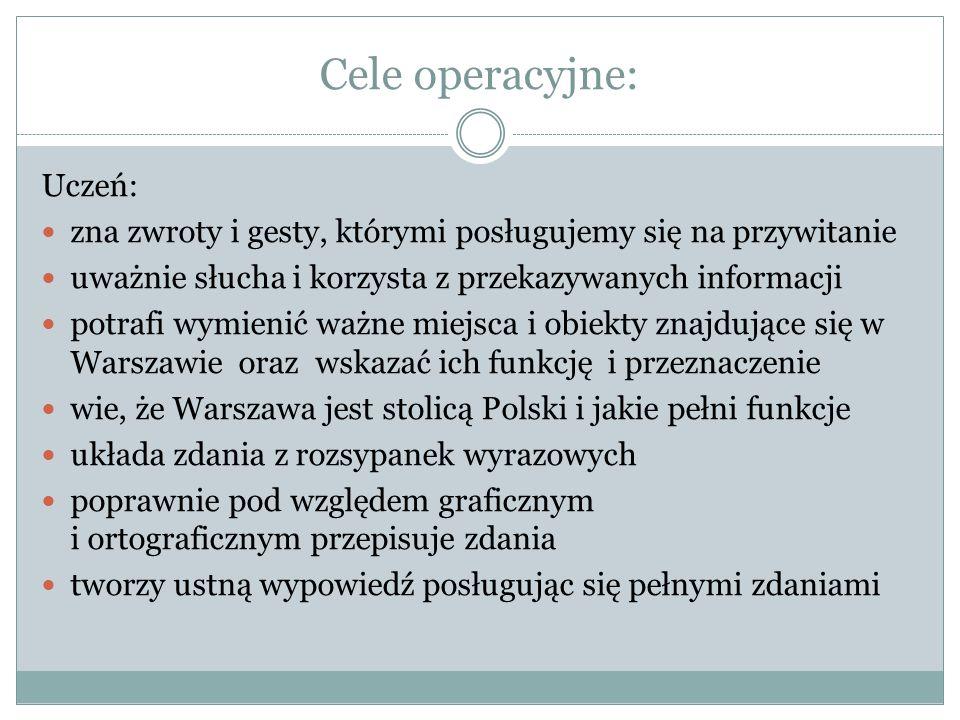 """""""W Warszawie działa podziemna kolej, czyli metro. """"Na ulicach Warszawy panuje duży ruch i gwar. Efekty pracy grupowej"""