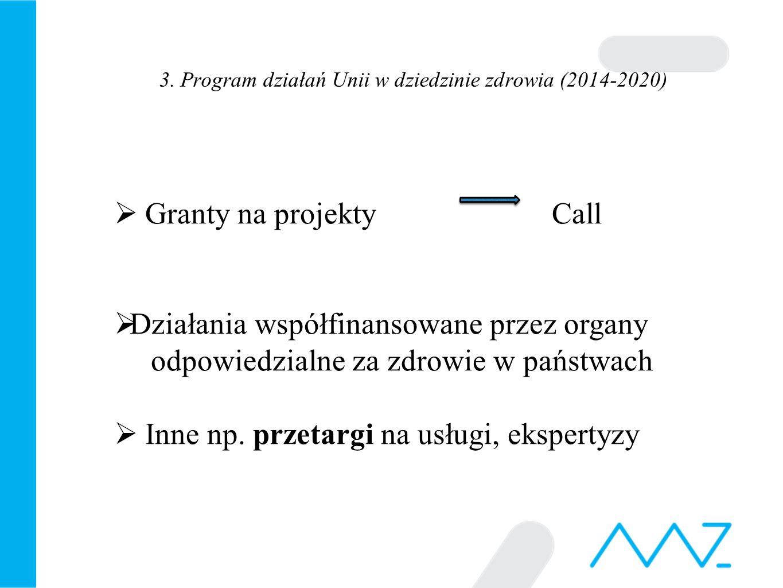 3. Program działań Unii w dziedzinie zdrowia (2014-2020)  Granty na projekty Call  Działania współfinansowane przez organy odpowiedzialne za zdrowie