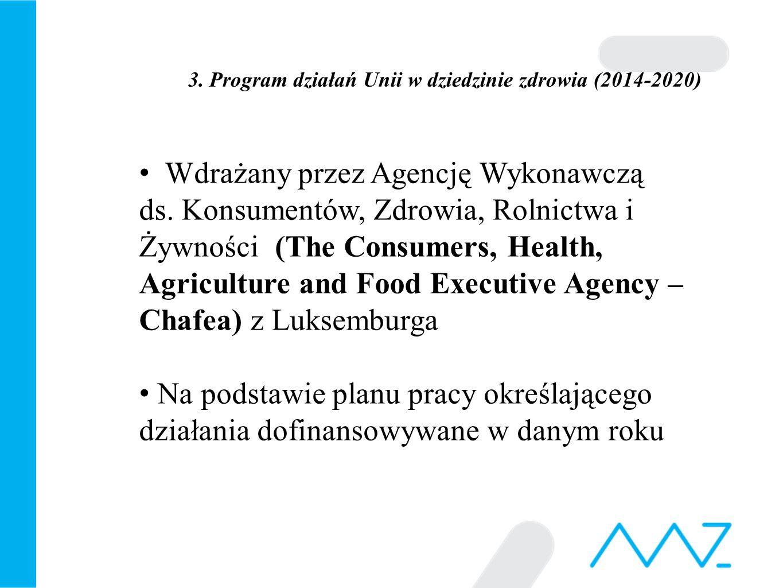 3. Program działań Unii w dziedzinie zdrowia (2014-2020) Wdrażany przez Agencję Wykonawczą ds.