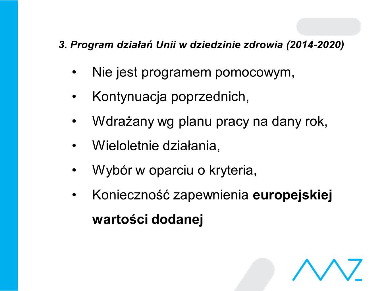3. Program działań Unii w dziedzinie zdrowia (2014-2020) Nie jest programem pomocowym, Kontynuacja poprzednich, Wdrażany wg planu pracy na dany rok, W