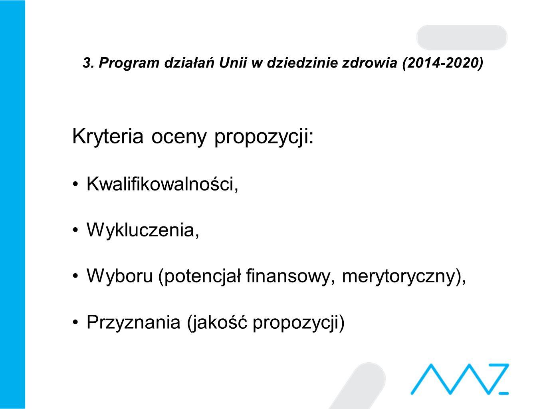3. Program działań Unii w dziedzinie zdrowia (2014-2020) Kryteria oceny propozycji: Kwalifikowalności, Wykluczenia, Wyboru (potencjał finansowy, meryt
