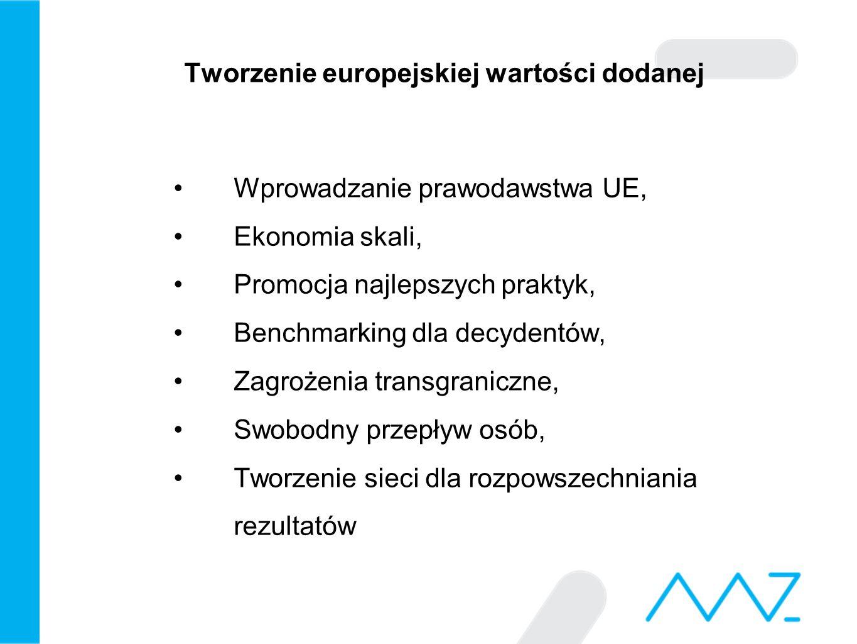 Tworzenie europejskiej wartości dodanej Wprowadzanie prawodawstwa UE, Ekonomia skali, Promocja najlepszych praktyk, Benchmarking dla decydentów, Zagrożenia transgraniczne, Swobodny przepływ osób, Tworzenie sieci dla rozpowszechniania rezultatów