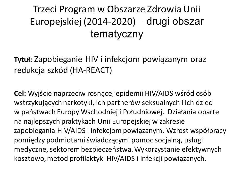 Trzeci Program w Obszarze Zdrowia Unii Europejskiej (2014-2020) – drugi obszar tematyczny Tytuł: Zapobieganie HIV i infekcjom powiązanym oraz redukcja szkód (HA-REACT) Cel: Wyjście naprzeciw rosnącej epidemii HIV/AIDS wśród osób wstrzykujących narkotyki, ich partnerów seksualnych i ich dzieci w państwach Europy Wschodniej i Południowej.
