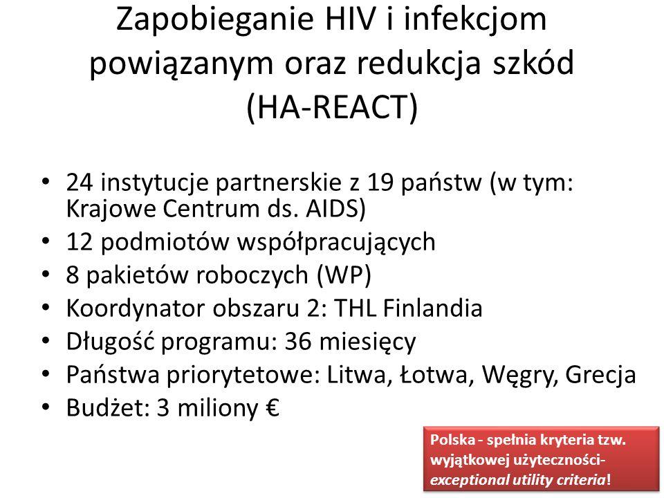 Zapobieganie HIV i infekcjom powiązanym oraz redukcja szkód (HA-REACT) 24 instytucje partnerskie z 19 państw (w tym: Krajowe Centrum ds. AIDS) 12 podm
