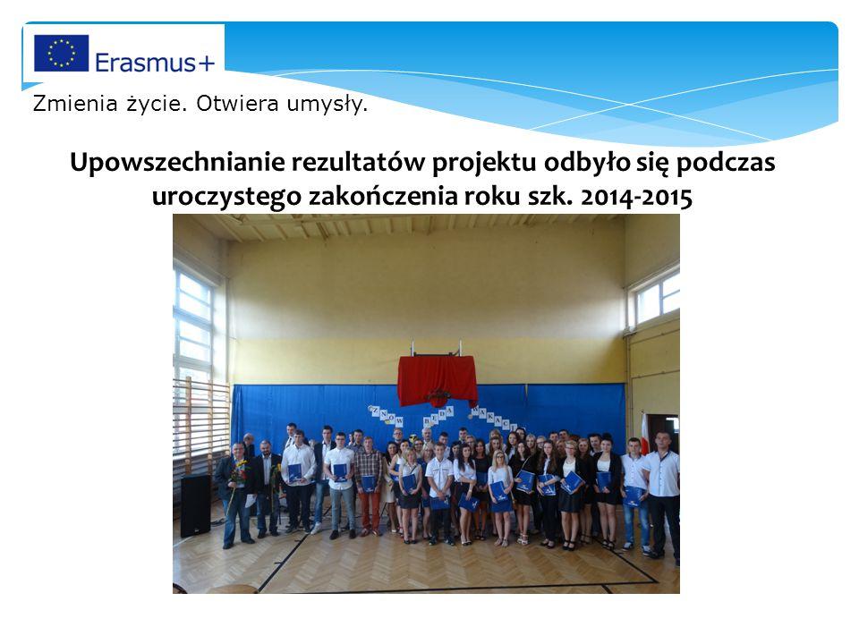 Upowszechnianie rezultatów projektu odbyło się podczas uroczystego zakończenia roku szk.