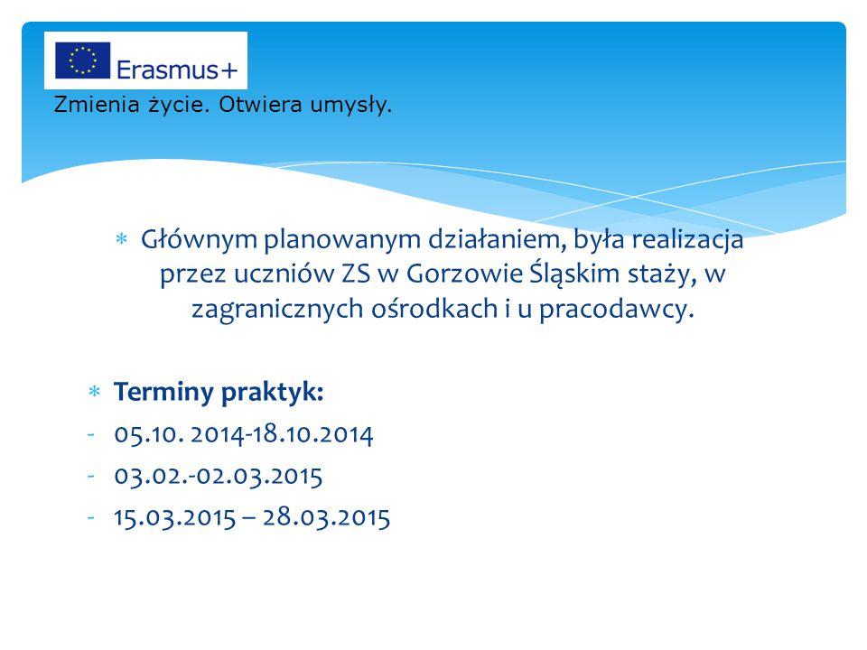  Głównym planowanym działaniem, była realizacja przez uczniów ZS w Gorzowie Śląskim staży, w zagranicznych ośrodkach i u pracodawcy.  Terminy prakty