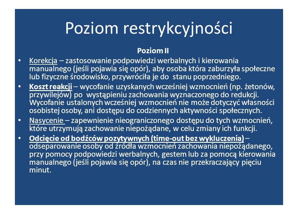 Poziom restrykcyjności Poziom II Korekcja – zastosowanie podpowiedzi werbalnych i kierowania manualnego (jeśli pojawia się opór), aby osoba która zabu
