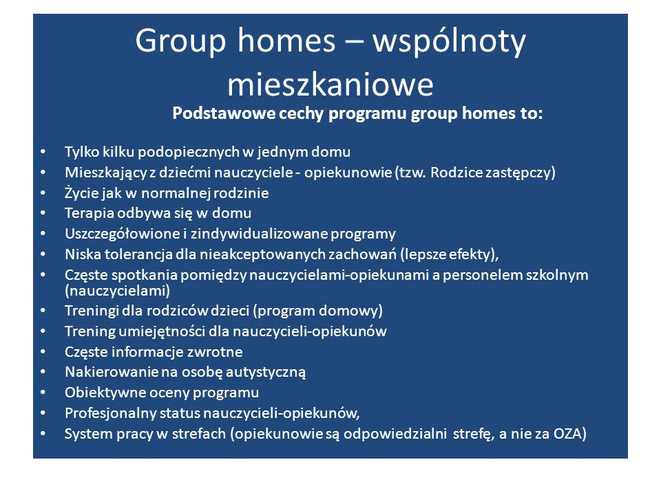 Group homes – wspólnoty mieszkaniowe Podstawowe cechy programu group homes to: Tylko kilku podopiecznych w jednym domu Mieszkający z dziećmi nauczycie