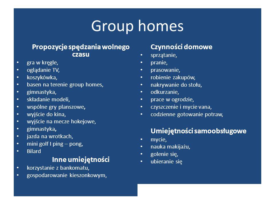 Group homes Propozycje spędzania wolnego czasu gra w kręgle, oglądanie TV, koszykówka, basen na terenie group homes, gimnastyka, składanie modeli, wsp