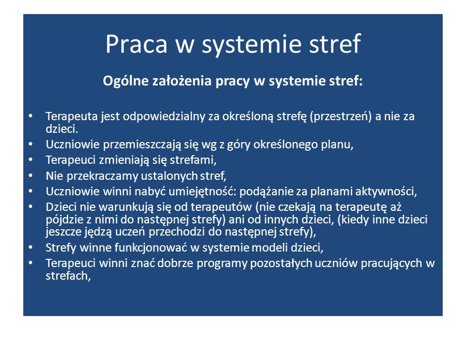 Praca w systemie stref Ogólne założenia pracy w systemie stref: Terapeuta jest odpowiedzialny za określoną strefę (przestrzeń) a nie za dzieci. Ucznio