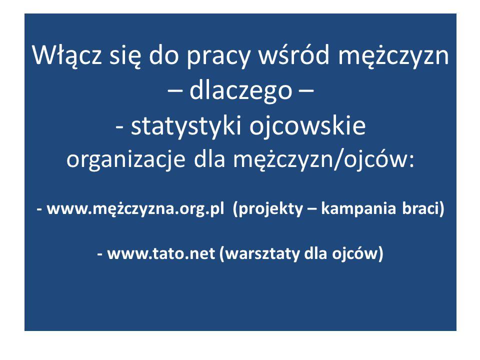 Włącz się do pracy wśród mężczyzn – dlaczego – - statystyki ojcowskie organizacje dla mężczyzn/ojców: - www.mężczyzna.org.pl (projekty – kampania brac