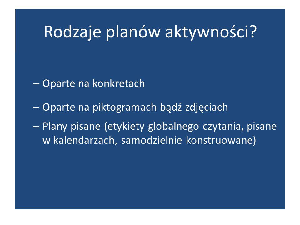 Rodzaje planów aktywności? – Oparte na konkretach – Oparte na piktogramach bądź zdjęciach – Plany pisane (etykiety globalnego czytania, pisane w kalen