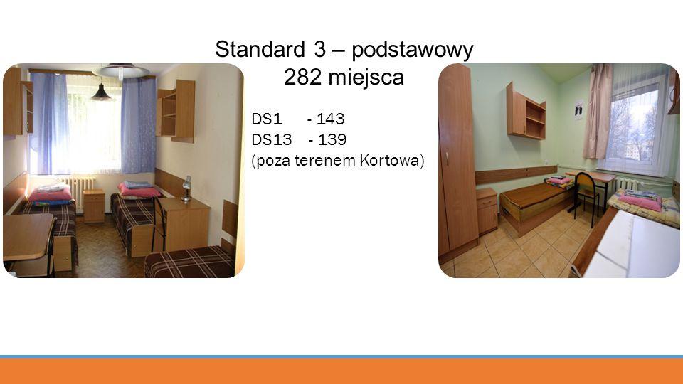 Standard 3 – podstawowy 282 miejsca DS1 - 143 DS13 - 139 (poza terenem Kortowa)