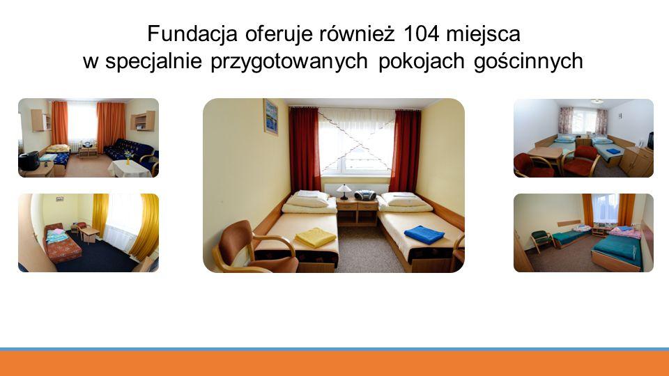 Fundacja oferuje również 104 miejsca w specjalnie przygotowanych pokojach gościnnych