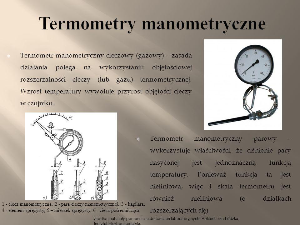 Źródło: materiały pomocnicze do ćwiczeń laboratoryjnych. Politechnika Łódzka, Instytut Elektroenergetyki.  Termometr manometryczny cieczowy (gazowy)