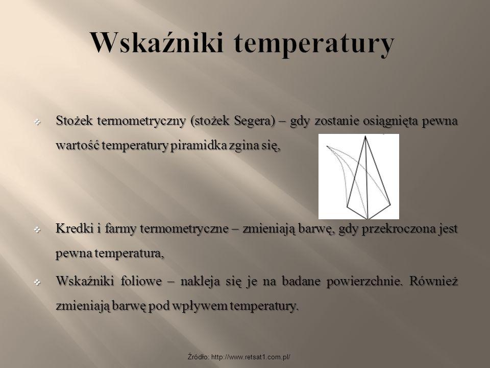  Stożek termometryczny (stożek Segera) – gdy zostanie osiągnięta pewna wartość temperatury piramidka zgina się,  Kredki i farmy termometryczne – zmi