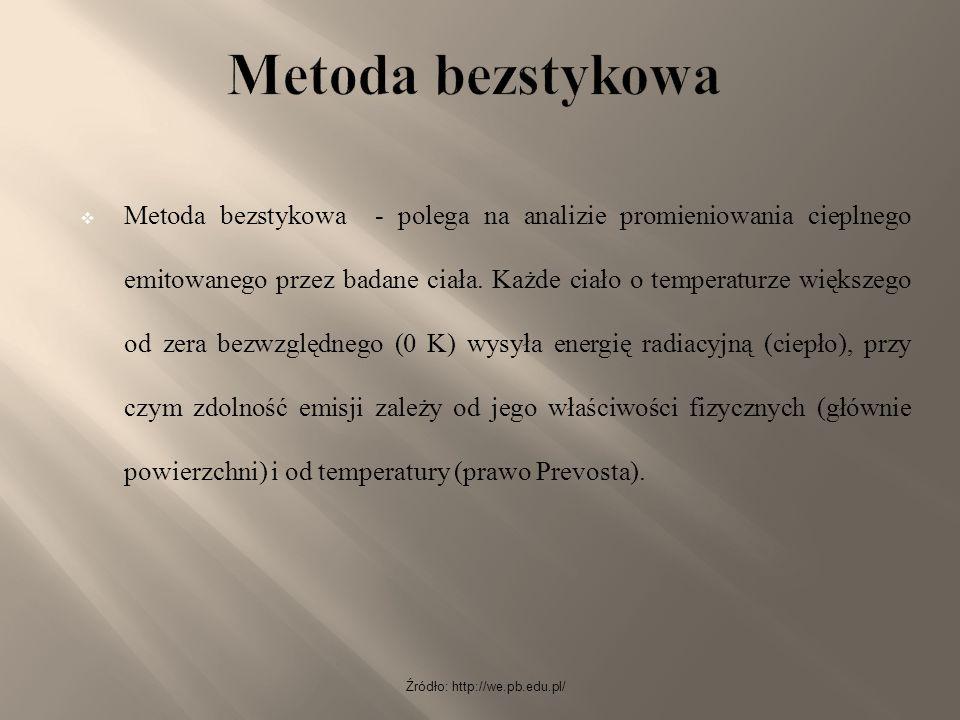Źródło: http://we.pb.edu.pl/  Metoda bezstykowa - polega na analizie promieniowania cieplnego emitowanego przez badane ciała. Każde ciało o temperatu