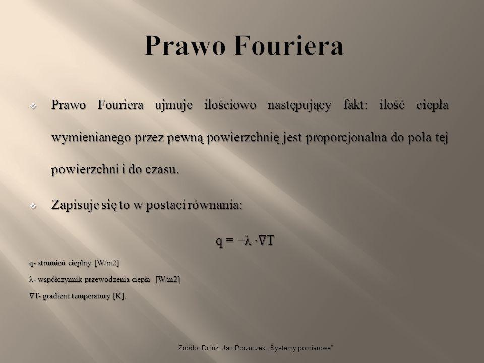 """Źródło: Dr inż. Jan Porzuczek """"Systemy pomiarowe""""  Prawo Fouriera ujmuje ilościowo następujący fakt: ilość ciepła wymienianego przez pewną powierzchn"""