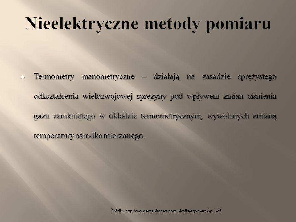 Źródło: http://www.emet-impex.com.pl/wika/tgr-o-em-i-pl.pdf  Termometry manometryczne – działają na zasadzie sprężystego odkształcenia wielozwojowej