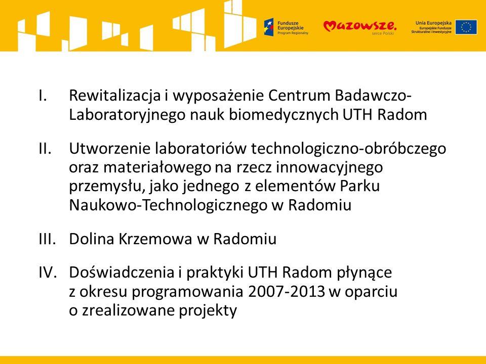 I.Rewitalizacja i wyposażenie Centrum Badawczo- Laboratoryjnego nauk biomedycznych UTH Radom II.Utworzenie laboratoriów technologiczno-obróbczego oraz