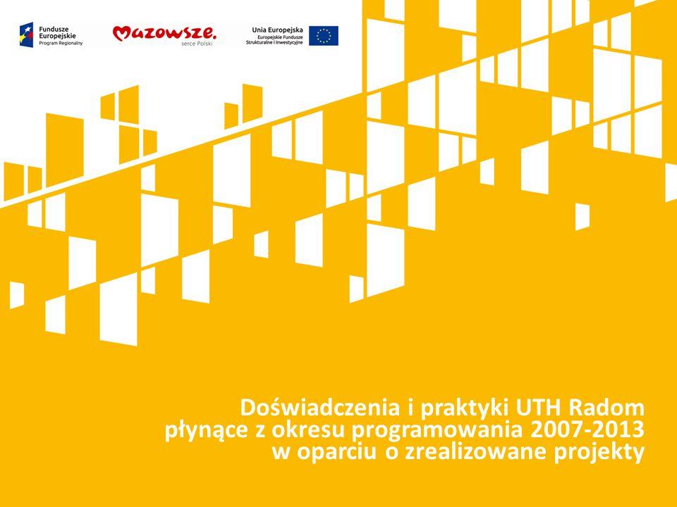 Kliknij, aby dodać tytuł prezentacji Doświadczenia i praktyki UTH Radom płynące z okresu programowania 2007-2013 w oparciu o zrealizowane projekty