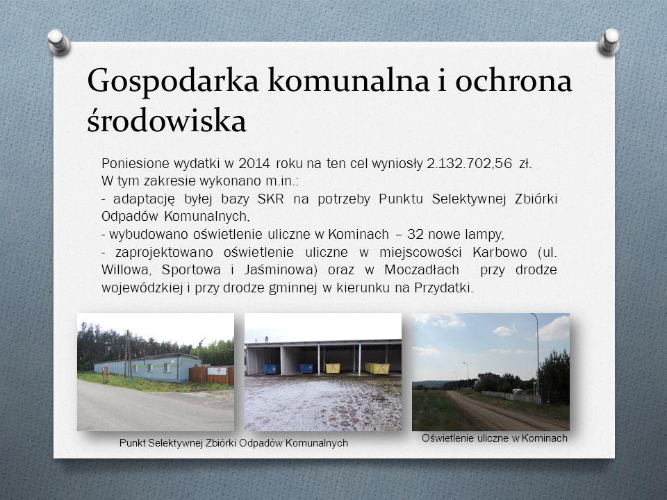 Gospodarka komunalna i ochrona środowiska Poniesione wydatki w 2014 roku na ten cel wyniosły 2.132.702,56 zł.