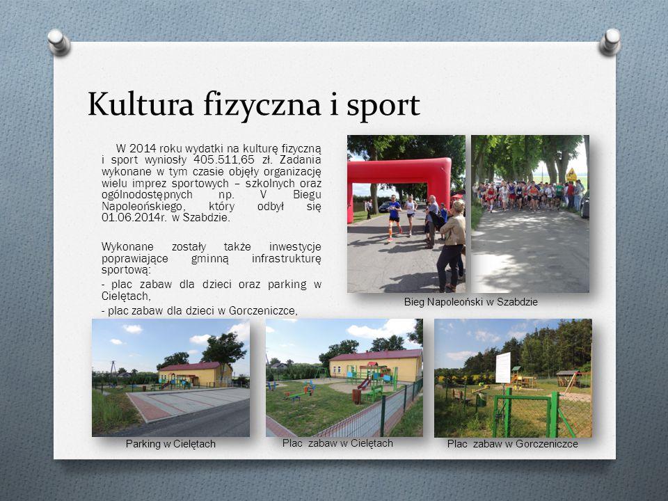 Kultura fizyczna i sport W 2014 roku wydatki na kulturę fizyczną i sport wyniosły 405.511,65 zł.
